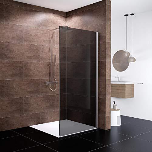 Schulte Duschwand Walk In Boston, 120 x 200 cm, 10 mm Sicherheitsglas grau anthrazit beschichtet, Profile chromoptik, Duschabtrennung für Duschwanne oder Fliese