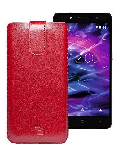 Original Favory Etui Tasche für MEDION® LIFE® E5005 (MD 99915) | Leder Etui Handytasche Ledertasche Schutzhülle Hülle Hülle Lasche mit Rückzugfunktion* in rot