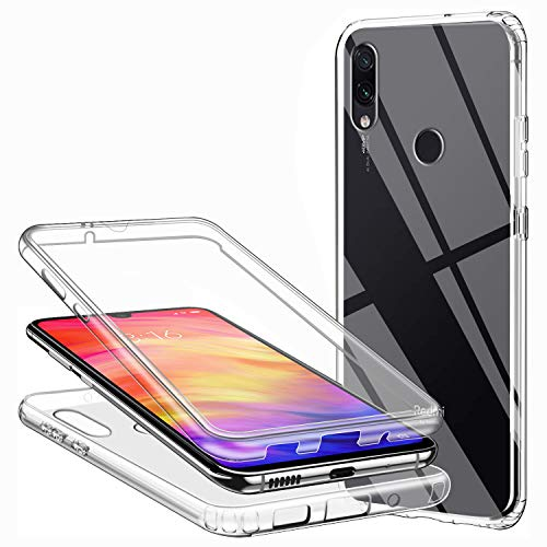Funda Xiaomi Redmi Note 7/Redmi Note 7 Pro, Transparente 360 Grados Delantera Trasera Carcasa Ultra-Delgado Resistente Anti-Arañazos Anti-Choques TPU Silicona Suave + PC Dura Doble Cara Protectora