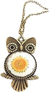 Heng-Yuan tian cheng Collier de chouette véritable collier en forme de marguerite collier hiboux ancien bijou fleur
