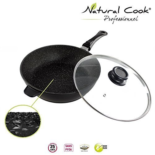 Natural Cook professionnel - Deep Saute Pan In Nonstick Stonelike Granitelike and Ceramic Coating Cookware With Detachable Handles and Glass Cover - Suitable For All Cookers, Even Induction Cookers 9,5""