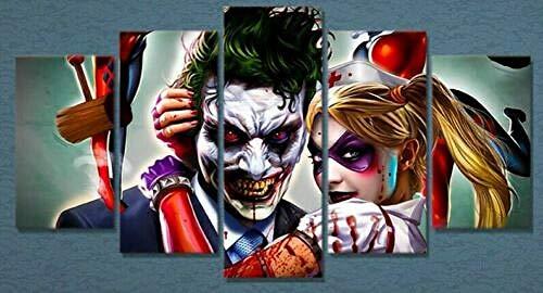 JJJKK Canvas Picture - 5 Piece - Prints On Canvas - 5 Part Panels - JokerBatman Harley Quinn - Ready to Hang - wall art print - Completely framed - Home Decor