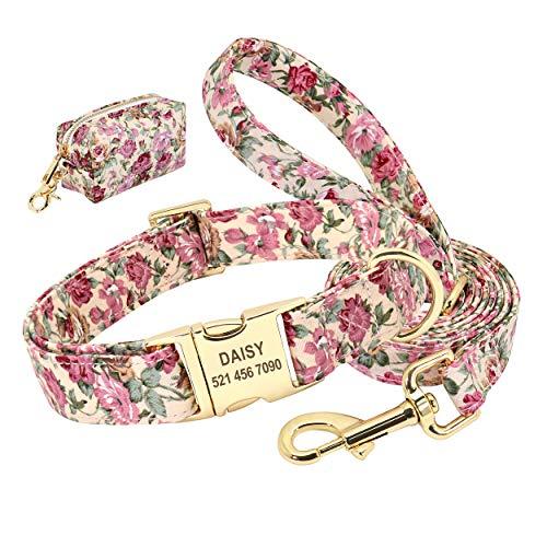 Beirui Juego de collar y correa para perro personalizado con bonita bolsa – Patrón floral grabado láser collares de identificación de mascotas, conveniente para viajes, caminar y acampar (beige, L)