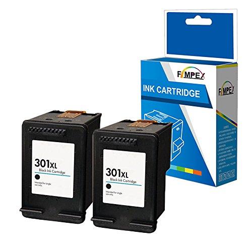 Fimpex Remanufacturado Tinta Cartucho Reemplazo para HP Deskjet 1000 1010 1050 1050A AiO 1510 1512 1514 2050 2050A 2050s 2510 2512 2540 2542 2544 2545 AiO 2549 AiO 3000 3050 301XLB (Nero, 2-Pack)
