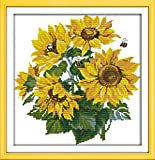 Printed Cross Stitch Kits 11CT 16X16 inch 100% Cotton Holiday Gift DIY Embroidery Starter Kits Easy Patterns Embroidery for Girls Crafts DMC Stamped Cross-Stitch Supplies Needlework Sunflower