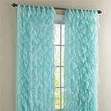 Lorraine Home Fashions Cascade Sea 84' Shabby Chic Sheer Ruffled Curtain Panel