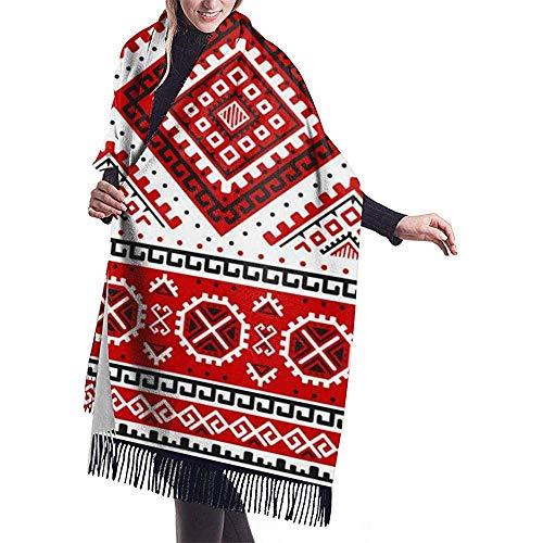 Cathycathy Grote sjaal etnisch zwart wit rood kleur 2 sjaal wrap winter warm scarf cape