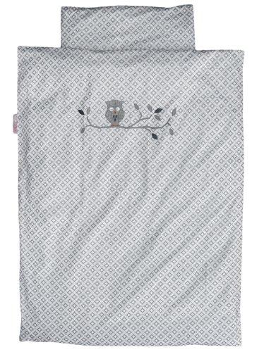 Taftan - Housse de Couette Enfant Chouette Grise 140 x 200 cm pour lit Enfant standart