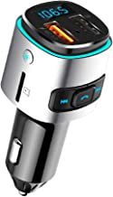 HX Studio Bluetooth FM Transmitter for Car,7 Color LED Backlit QC3.0 Car Charger Adapeter with Dual USB Ports Charger,Hands-Free Call Car Kit Supports Color Light, Support TF Card, USB Disk Music Play
