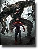 Anzonto Tableau mural sur toile moderne Décoration de maison Peinture abstraite Spiderman devant Venom Art abstrait Personnage Art abstrait 50,8 x 76,2 cm
