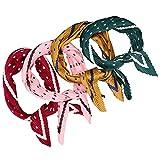 FRCOLOR 4 Piezas de Bufanda para La Cabeza Bufanda de Seda Bufanda Plisada para El Cuello Rombos Pañuelo para La Cabeza Accesorios de Moda para Mujeres Damas