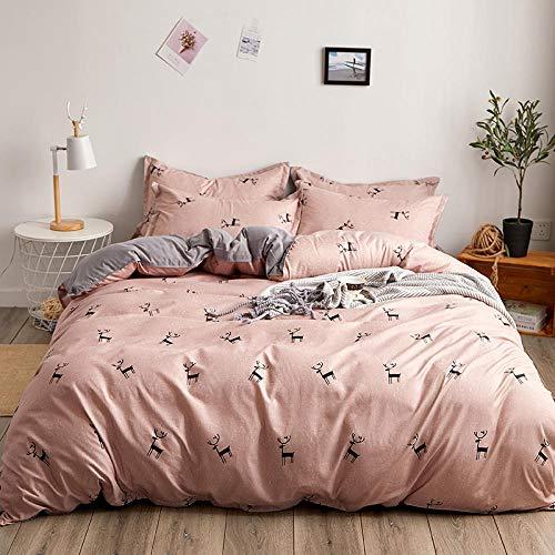 Funda nórdica estampada 4 piezas Alce animal de dibujos animados rosa desnudo microfibra Juego de ropa de cama ,1 funda de edredón con cierre de cremallera 1 hoja + 2 fundas de almohada)200x230cm