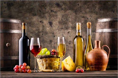 Posterlounge Acrylglasbild 60 x 40 cm: Wein, Trauben, Fässer und Käse von Editors Choice - Wandbild, Acryl Glasbild, Druck auf Acryl Glas Bild