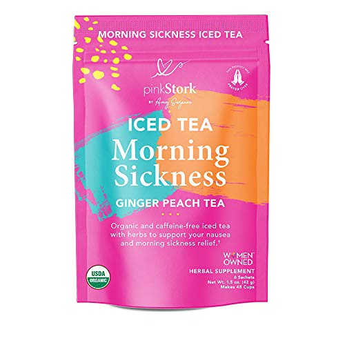Pink Stork Morning Sickness Iced Tea: Ginger Peach, Organic Ginger, 100% Organic, Nausea Relief, Digestion + Hydration Support, Women-Owned, 48 Cups