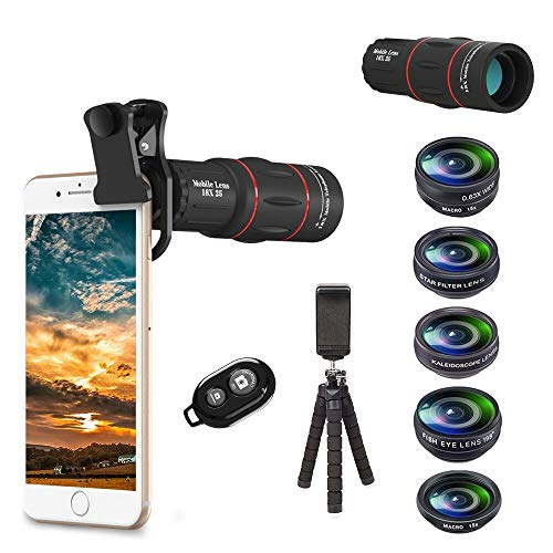 Apexel 8 en 1 Kit de Lentes de cámara para teléfono Teleobjetivo 18X, Lente Gran Angular,Lente Macro,Ojo de pez,Lente caleidoscopio,Filtro de Estrellas,Obturador Remoto,trípode para iPhone Smartphone