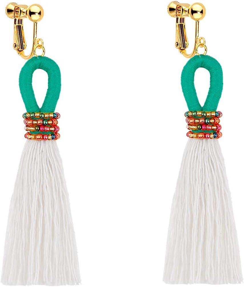 Clip on Dangle Seed Beaded Weave Earrings Bohemian Handmade Long Threads Tassel Boho Women Girls Fringe