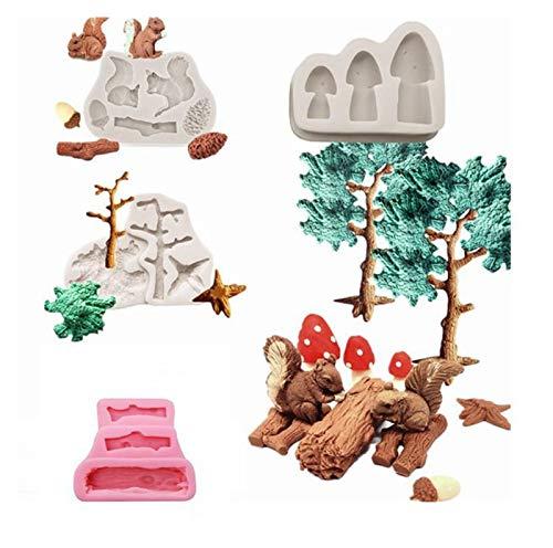 Kuchenform silikon Fondant Kuchenform Eichhörnchen Wald Silikon Süßigkeiten Schokolade Backwerkzeuge Holzfäller Waldstumpf Kiefernzapfen Holz Gewohnheit m kuchenform