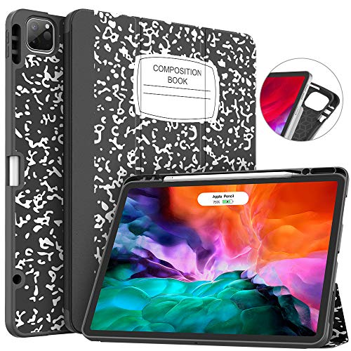 Soke New iPad Pro 12.9 Case 2020 & 2018 with Pencil Holder - [Full Body Protection + Apple Pencil Charging + Auto Wake/Sleep], Soft TPU Back Cover for 2020 iPad Pro 12.9(Book Black)