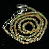 Lovekush Beads - Collana con perline in pietra preziosa naturale di Welo Fire etiope opale liscio, con micro pietre preziose, lunghezza 40,6 cm, 2,5 mm, codice RR-26138