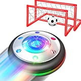 WisToyz Kids Toys Hover Soccer Ball Set Rechargeable Air Soccer, Indoor Soccer Ball with LED Light and Foam Bumper, Toys for Boys, Girls, Toddler, Including an Inflatable Ball (No AA Battery Needed)