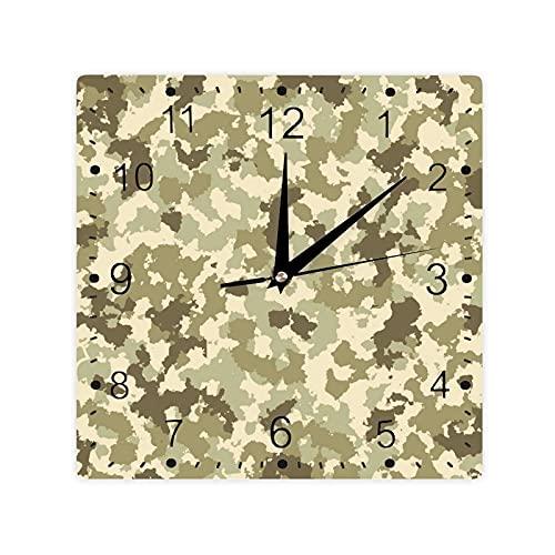 Antiguo patrón de camuflaje clásico selva supervivencia tema color cuadrado morden reloj Slient