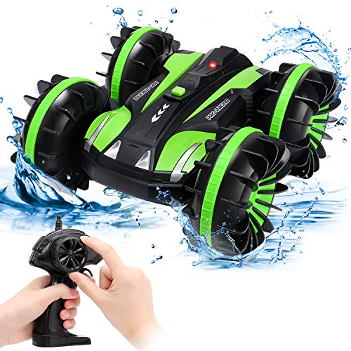 SGILE Ferngesteuertes Auto, Wasserdichtes RC Stunt Auto Boot, Amphibisches Fahrzeug Mit 360° Rotation & Flip für Kinder Jungen Mädchen Erwachsene Indoor Outdoor Geschenk