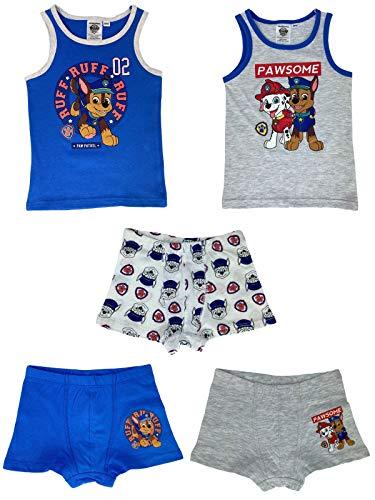 PAW PATROL - Jungen Unterwäsche-Set bestehend aus 2X Unterhemden + 3X Boxershorts - Vorteils Package - Öko Tex - Top Qualität, Größe:110/116, Farbe:Blau. Weiß & Grau