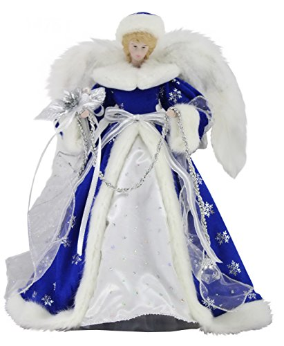 Windy Hill Collection 14' Inch Standing Blue Angel Christmas Tree Topper or Table Top 41453