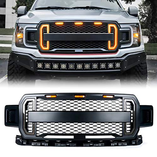 ToxicStorm Front Grill Mesh Grille Raptor Style Replacement for Ford F150 2018 2019 2020 with DRL & Turn Signal Lights and 3 Amber LED Lights( Matte Black)