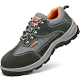 GPFSHOES - Zapatos de seguridad antiestáticos para hombre, ligeros, de verano, suela intermedia, de acero, transpirables, industriales, Verde, 42EU