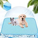"""AOCZZ Dog Cooling Mat, Summer Cooling Pads for Dogs, Pet Ice Cooling Bed for Dogs Cats, Ideal for Home & Travel (Blue,20""""x 16"""")"""
