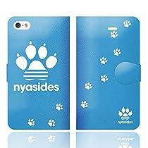 iPhoneSE iPhone5S iPhone5 手帳型 ケース カバー NYASIDES ニャシデス M ハート アニマル ワンポイント 面白い 猫 ネコ ねこ