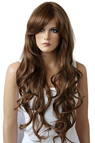 PRETTYSHOP Unisexe Perruque Pleine Cheveux Longs Fibres Synthétiques Résistant à La Chaleur Ondulé Volumineux brun clair # 12 FS836t