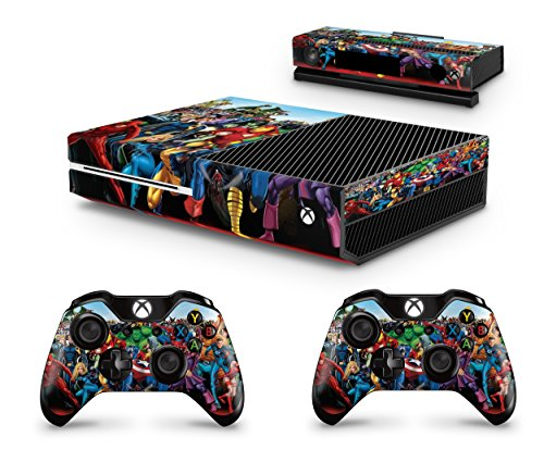 giZmoZ n gadgetZ GNG Xbox One Konsolen-Gehäuseaufkleber, Motiv: Marvel, inklusive 2er-Set mit Aufklebern für Controller