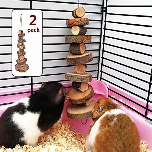 Kauspielzeug aus natürlichem Bio-Apfelholz, 2 Stück, kleine Tier-Snack-Spielzeug geeignet für Kaninchen, Chinchilla, Meerschweinchen, Hamster, Zähneknirschen