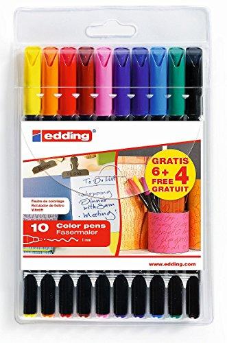 edding 1200 Faser-Maler - 6+4 GRATIS: 10er Set - Strichbreite 1 mm - Zum Schreiben, Malen uns Skizzieren Schule, Büro, Homeoffice (Filzstift)