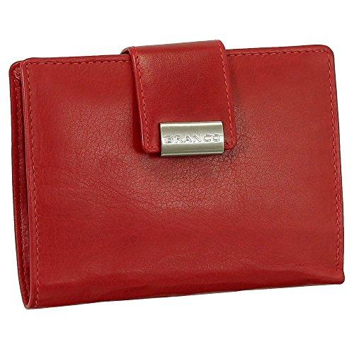 Leder Damen Geldbörse Portemonnaie Geldbeutel XXL mit Druckknopf 10 cm Farbe Rot