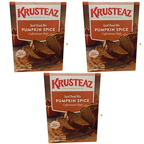 Krusteaz 3 Pack Pumpkin Spice Quick Bread Mix, Coffeehouse style with REAL Pumpkin - 3, 15oz boxes