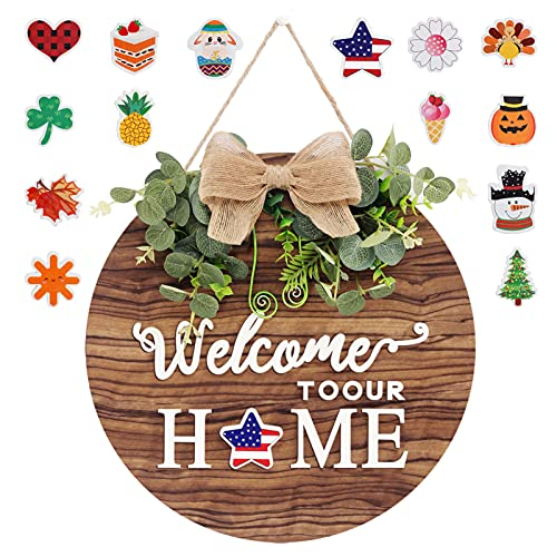 Large Size Interchangeable Seasonal Welcome Sign for Front Door, Rustic Round Wood Wreaths Wall Hanging Outdoor, Farmhouse, Porch, Wall, Home, Perfect for Holiday Christmas Party Decoration, 14Inch.