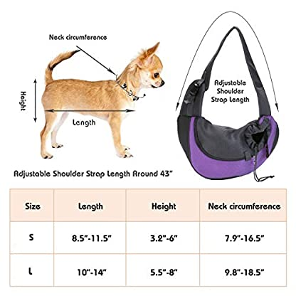 EVBEA Dog Carrier Sling Front Pack Puppy Carrier Purse Breathable Mesh Travel for Small or Medium Pet Dogs Cats Sling Bag 3