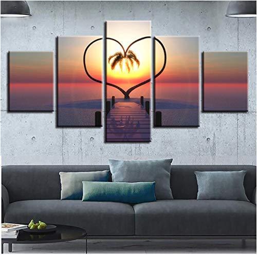 FCXBQ Leinwand Gedruckt Bilder Wohnkultur 5 Stücke Ozean Herzen Baum Gemälde Sonnenaufgang Brücke Landschaft Poster Modulare Wandkunst