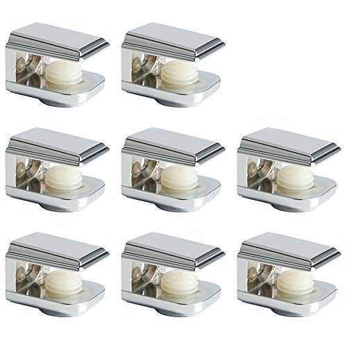 Alise 8 Pcs Adjustable Frameless Rectangle Glass Shelf Bracket Holder Heavy Duty Clamp Shelf Clip,BL1015-8P Polished Chrome