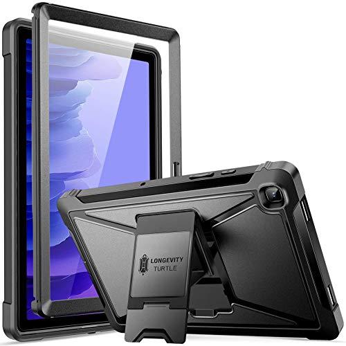 ZtotopCase Funda para Samsung Galaxy Tab A7 10.4 2020 Tableta (SM-T500/505/507), Protector de Pantalla Incorporado, Doble Capa a Prueba de Golpes con Soporte- Negro