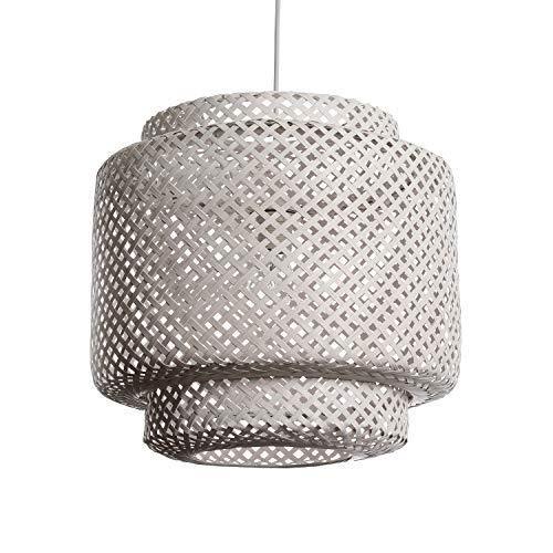 LUSSIOL Luminaire, Suspension Halong 40, Bambou naturel Blanc - ideal pour séjour, salon, et chambre Normal