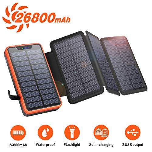 Cargador solar portátil a prueba de agua Elzle 26800mAh, Power Bank con 4 paneles solares, puertos USB duales de 5V / 2.1Acompatible con teléfonos inteligentes, tabletas y más acampar al aire libre