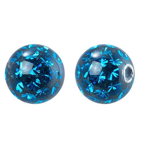 steinbesetzte Klemmkugel mit Epoxy Gloss Finish 6mm blauer zirkonia