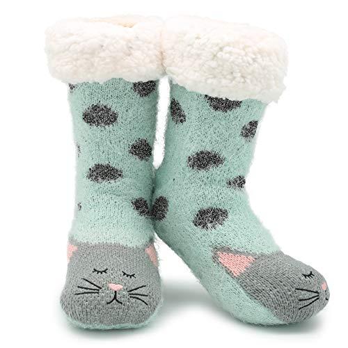 CityComfort Slipper Socken 3D Neuheit niedlichen Tier gestrickte extra warme Hausschuhe super weiche Winter Wolle (Smaragd Katze)