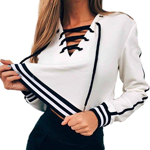 Sannysis Frauen Langarm Leder Crop Tops Shirt Sweater (L, Weiß)
