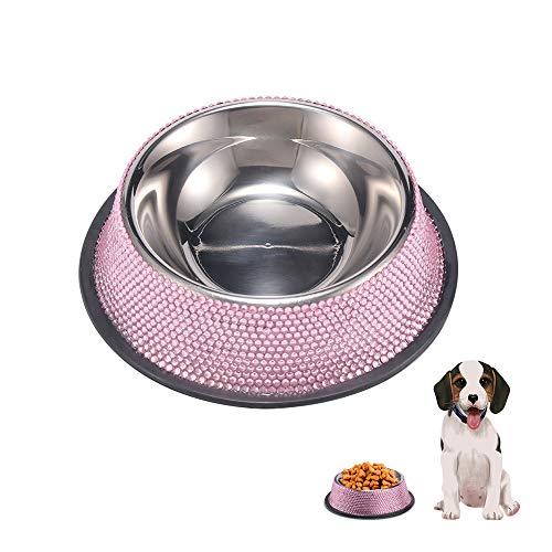 LKHF Edelstahl Hundenapf Diamantbesetzte Hundenapf Luxus Anti-Rutsch-Gummiring Ring Schüssel Großkapsel Futter Schüssel Tierbedarf