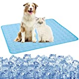 Pet Cooling Mat for Dogs Cats Puppy, Washable Dog Cooling Pad Blanket Ice Silk Sleeping Pad Blanket, Indoors&Outdoors Summer Self Dog Cooling Mats for Kennel Sofa Bed Cars (L:28×22inch, Blue-2021)